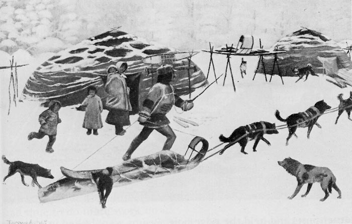 Gwich'in skin houses drawn by Tappen Adney in 1901